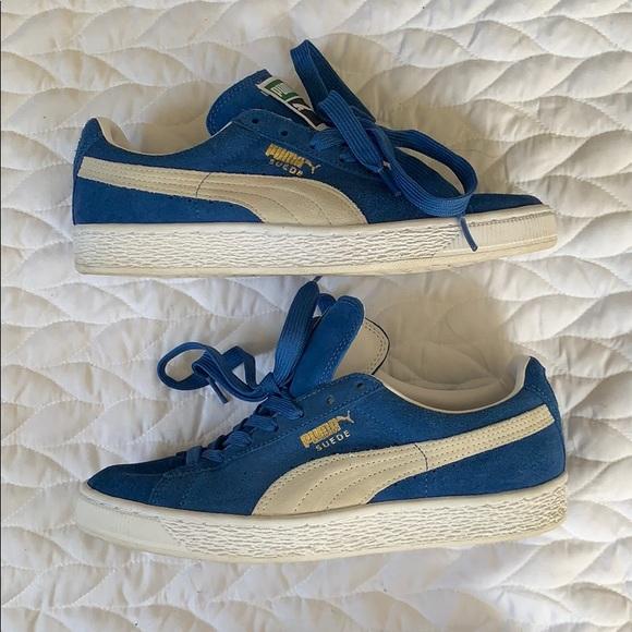 size 40 d63a1 1ff16 Blue Gray & White Puma Suede Sneakers Sz 9